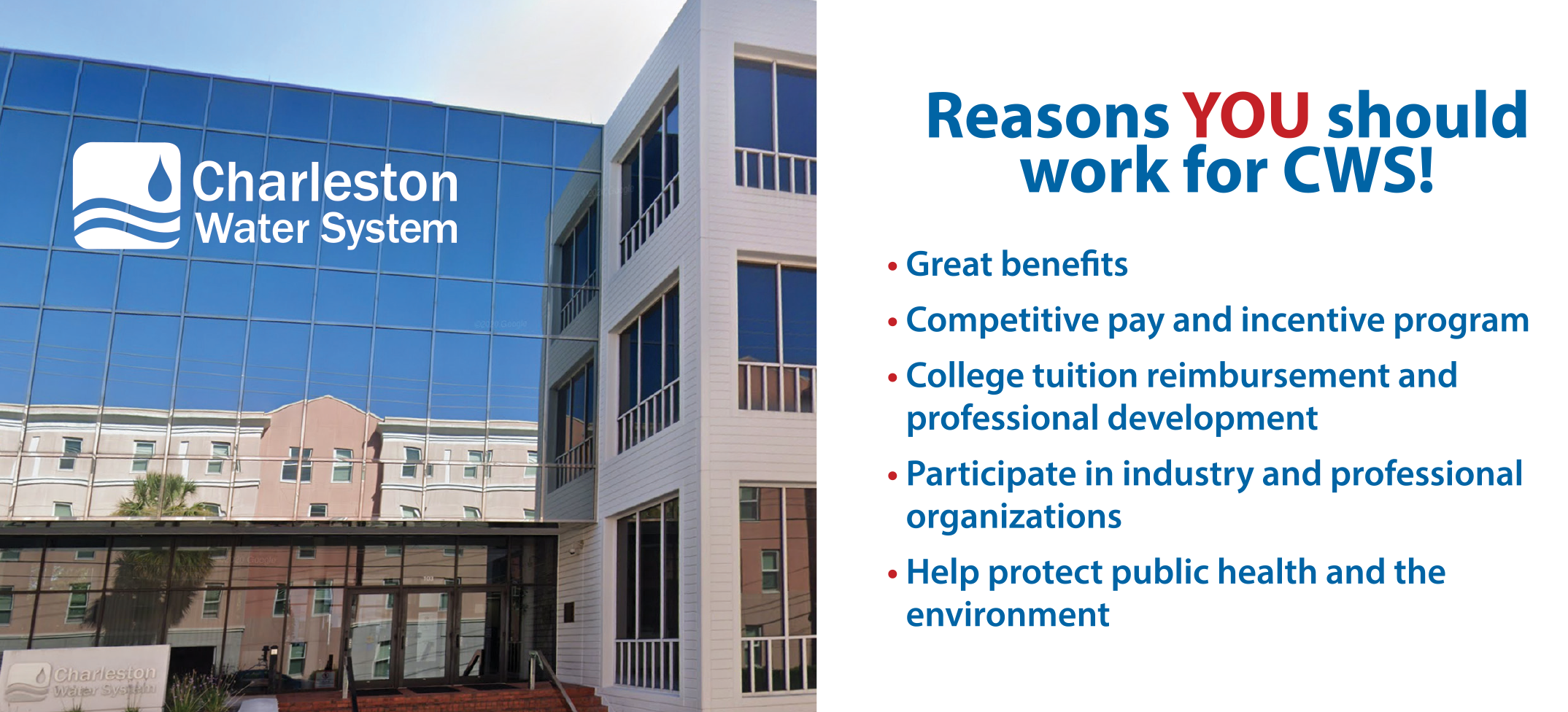 Charleston Water System offers great benefits and a chance to work to improve the environment.