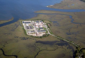 Aerial of Plum Island Wastewater Treatment Plant