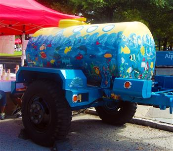 The Water Buffalo is a portable tank that holds 500 gallons of drinking water.